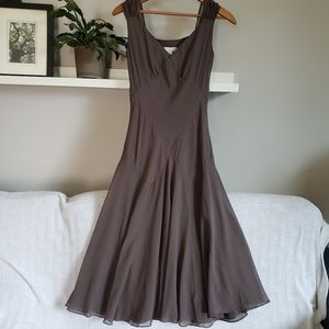 Charter Club Taupe Brown Silk Sleeveless Dress 2P